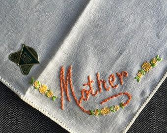 Vintage Unused Mother Monogram Hanky 1290