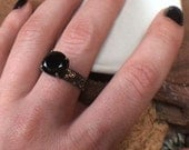 Black Beauty - floral sterling silver band 14k yellow gold deatils and black spinel faceted gemstone
