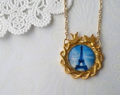Gold Eiffel Tower at Dusk with Little Birds Necklace