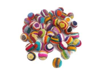 Handmade felt balls striped 15mm pom pom balls wool felt balls bead arts and crafts 100%