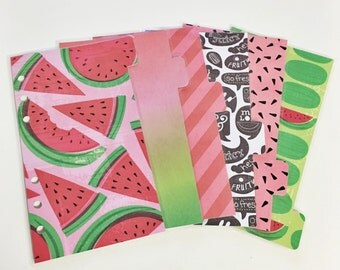 Personal Sized Laminated Dividers For Filofax Kate Spade Agenda Kikki-k Planner Red Pink Green Watermelon Word Bubbles Stripes Seeds