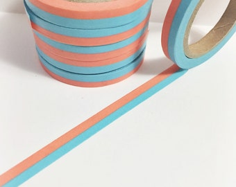 SALE Bright Aqua Blue and Neon Orange Striped Skinny Washi Tape 11 yards 10 meters 7mm