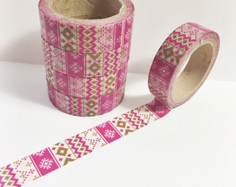SALE Dark Pink Fuchsia and Brown Stitched Cross Stitch Sweater Washi Tape 11 yards 10 meters 15mm