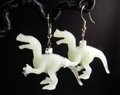 Velociraptor dinosaur upcycled toy earrings recycled kitsch kawaii funny hipster glow in the dark green