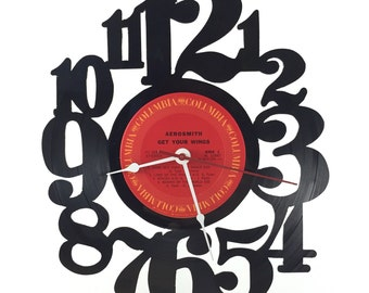 Handmade Vinyl Record Wall Clock Hanging Clock  (artist is Aerosmith)