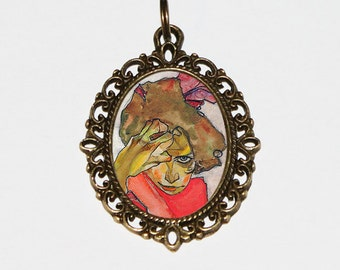 Egon Schiele Necklace, Red Dress Woman, Female Portrait, Expressionism, Victorian Jewelry, Oval Pendant