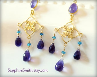 QUEEN OF SHEBA Gemstone Earrings, African Amethyst, Neon Blue Apatite, Bali Gold Vermeil Chandeliers, violet purple, February birthstone