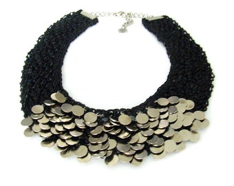Knitted Statement Necklace, Choker Necklace, Sequin Necklace