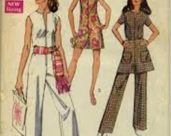 Simplicity 8745 Vintage 1970's Front Zip Jumpsuit or Romper and Mini Skirt Pattern-70's Jumpsuit Pattern -70's Romper-Uncut -Size 12 Bust 34
