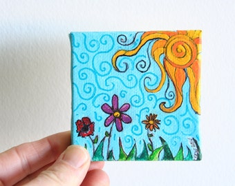 "Miniature Original Painting on Canvas 3"" x 3"", Doll House Art, Watercolor Painting, Mini Art, Whimsical Landscape, Sun Painting, Children"