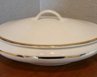 Vintage Gold Trim Casserole Dish