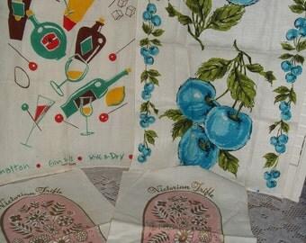 4 Lot vintage cotton & Irish Linen towels, tea, dish, Georges Briard hand screen print colorful fabric