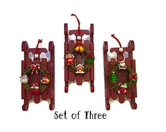 ON SALE 20% OFF Three Santa Wooden Sleigh Sled Ornaments Holiday Decor Wreath Candy Cane Stocking Christmas Tree Present Gingerbread House C