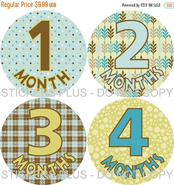 SALE Baby Month Stickers Monthly Baby Stickers Milestone Stickers Baby Bodysuit Stickers Monthly Stickers Boy Blue Brown Yellow All Differen