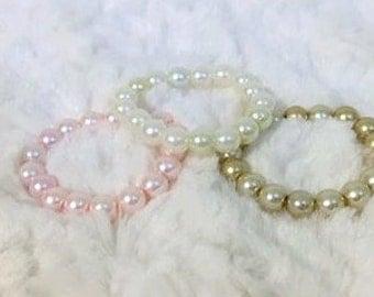 Newborn Pearl Bracelet, Sweetest Cream, Pink or Gold Pearl Bracelet, Newborn Photography Prop, Newborn Bracelet, Baby Bracelet