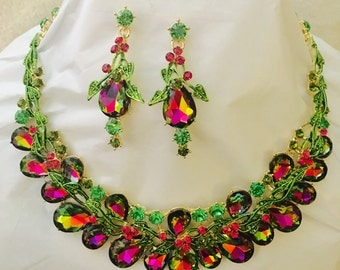 Watermelon Tourmaline Colored Crystal Rhinestone Necklace Set