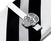 Day of the Dead Skull Tie Clip - Tie Bar - Tie Clasp - Business Gift - Handmade - Gift Box Included