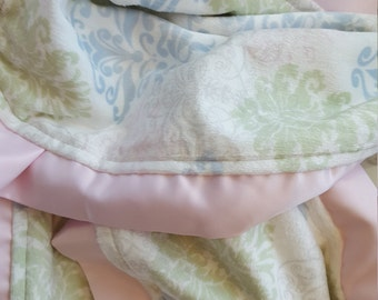 Minky Smooth Damask Baby Blanket with Satin Trim- Ready to Ship