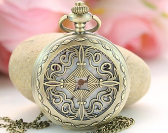 1pcs Antique Bronze Watch Charms Pendant with chain/handmade/ pocket watch