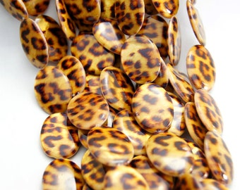10pcs 20x25mm Leopard Print Mother Of Pearl Flat Oval Beads Printed Shell Flat Oval Beads