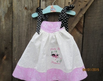 Girls lady bug princess Birthday Dress, Polka dot white pink black, infant 9mo,12mos, 18mos 2T,3T,4T
