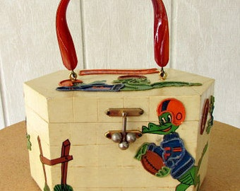 vintage 50s 60s wood box purse lucite handle Florida gators football  gallywog of Florida  fun funky unique