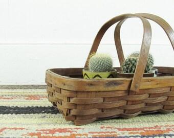 vintage gathering basket, vintage oak basket, picnic basket, storage basket, woven basket, handmade basket circa 1950