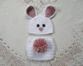 White and Light Raspberry Easter Bunny Crochet Beanie Hat and Diaper Cover - Photo Prop - Available in Any Size or Color Combination