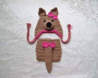 Kangaroo Crochet Hat and Diaper Cover Photo Prop Set - Available in Newborn, 3 to 6, 6 to 12 and 12 to 24