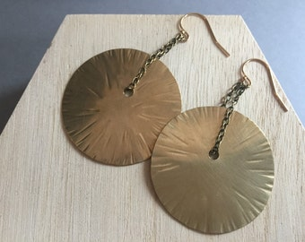 Hammered Large Sun Earrings, Elegant, Simple Gold Earrings