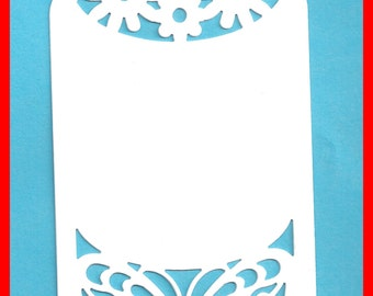 Tags CARD STOCK Die Cut Lace Butterflies White or Pale Green Set 12