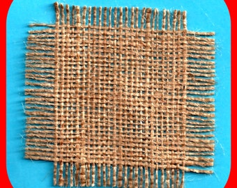 BURLAP Squares Cut & Frayed for Cards Embroidery Weaving Scrapbooks Stamping 15