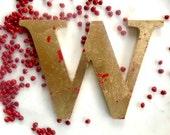 Gilded wooden letter - Letter W - initial - golden letter - gilding -  wedding letter - shabby chic - free standing  - alphabet letter