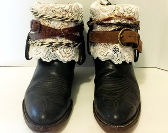 Dark Brown Tony Lama Belt Boots with Lace womans size 10 to 10 1/2