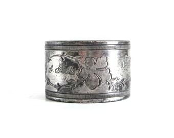 Antique Silverplate Napkin Ring Tarnished Silver Cloth Napkin Holder GGM Monogram Food Photography Prop