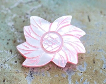 Pink Mother of Pearl Lapel Pin - Carved Sea shell Flower Brooch