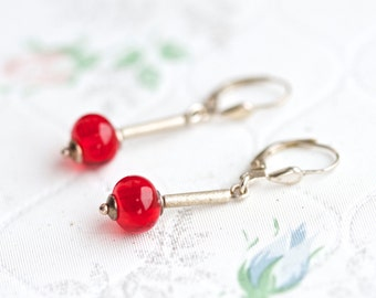 Red Glass and Sterling Silver - Elegant Dangle Earrings