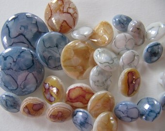 29 German glass buttons, marbled speckled glass buttons, 11 mm to 22 mm, vintage 1950's glass buttons, self shank buttons, Made in Germany