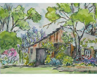 Old Shed at Willowwood Arboretum in NJ - Original Watercolor