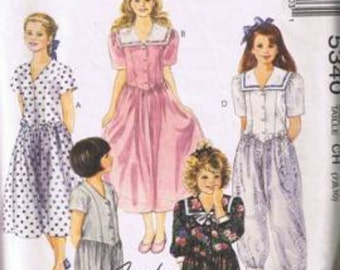 McCall's 5340 Girls' Dress and Jumpsuit in 2 Lengths Size 7,8, 10 - Cut On Size 10 & Complete