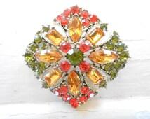 Vintage Maltese Cross Rhinestone Brooch, Pin, Gold, Green, Orange, Colorful, Large, Statement, Layered