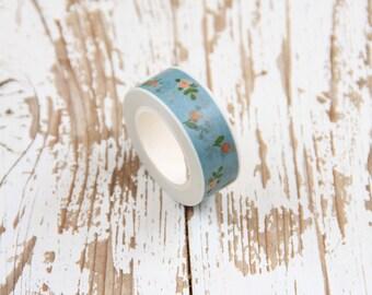 1 Nastro adesivo azzurro con decoro a fiori / Washi tape / Japanese Masking Tape