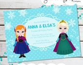Personalized Printable Frozen Inspired Invitation - Personalized Printable Invite featuring Anna and Elsa for Frozen Parties .. fi01