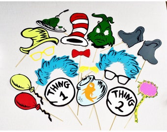 Cat in the Hat inspired party props **18 pc**