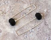 Long Black Earrings. Simple handmade glass beads