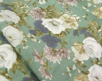 vintage white flower green chiffon fabric by yard for dress