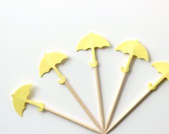 12 Pastel Yellow Umbrella Cupcake Toppers, Birthday Party, April Showers, Food Pick, Spring Baby