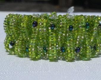 handmade bracelet, seed bead bracelet, hand woven bracelet, Lime green beaded bracelet, green basket weave bracelet, cuff style bracelet
