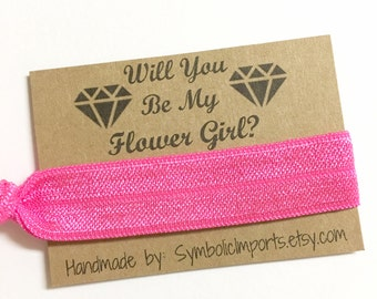 Flower Girl Proposal Hair Tie Bracelet - Will you be my Flower Girl Gift - Hair Tie Flower Girl Gift - Hair Tie Favor - Hair Tie Gift