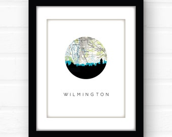 Wilmington NC home decor | Wilmington skyline print | North Carolina wall art | North Carolina map art | North Carolina print | coastal art